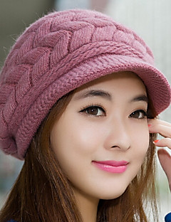 cheap Fashion Hats-Women's Rabbit Fur Cotton Blend Bucket Hat Baseball Cap,Cute Party Work Casual Solid Winter Fall Knitted Blushing Pink Beige Gray Purple