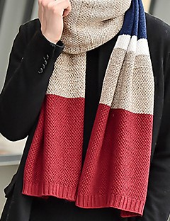 cheap Fashion Scarves-Men's Knitwear Rectangle Patchwork Winter Blue Red