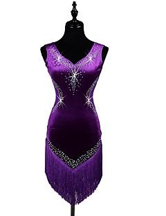 me latinalaista tanssia mekkoja naisten suorituskyky spandex kristallit / strassit tupsu (t) hihaton mekko