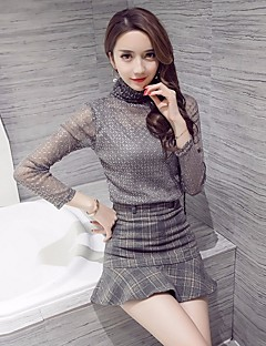 Women's Going out Simple Fall Winter T-shirt Skirt Suits,Plaid/Check High Neck Long Sleeves Polyester
