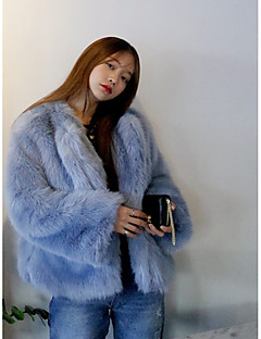 Women's Casual/Daily Simple Winter Fur Coat,Solid Round Neck Long Sleeves Regular Rayon