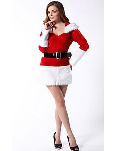 billige julen Kostymer-Kjoler Dame Jul Festival / høytid Drakter Rød Ensfarget Rutemønster