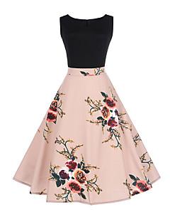 Kadın Dışarı Çıkma Günlük/Sade A Şekilli Elbise Çiçekli Kırk Yama,Kolsuz Yuvarlak Yaka Diz üstü Polyester Diğer Normal Bel Esnemez İnce