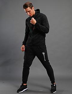 お買い得  ランニングシャツ/パンツ/ショーツ-男性用 トラックスーツ 長袖 保温, 高通気性 パーカー のために ランニング / ウォーキング コットン, ポリスター ブラック L / XL / XXL