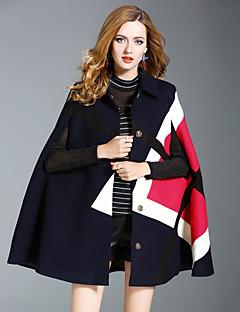 Dames Street chic Herfst Winter Cloak / Capes,Uitgaan Casual/Dagelijks Kleurenblok Normaal Wol Polyester