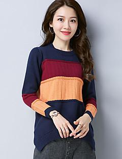 Χαμηλού Κόστους Chic Sweaters Sale-Γυναικεία Μακρυμάνικο Μακρύ Πουλόβερ - Συνδυασμός Χρωμάτων