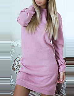 Kadın Günlük/Sade Kulüp Seksi Sokak Şıklığı Kılıf Örgü İşi Elbise Zıt Renkli Kırk Yama,Uzun Kol Yuvarlak Yaka Mini Polyester Bahar