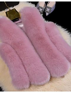 Damen Solide Einfach Lässig/Alltäglich Weste,V-Ausschnitt Winter Ärmellos Standard Kunst-Pelz