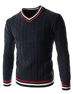 billige -Normal Pullover Fritid/hverdag Enkel Herre,Ensfarget Fargeblokk V-hals Langermet Bomull Vinter Vår/Vinter Medium Mikroelastisk