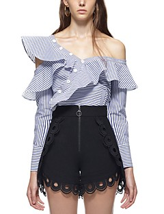 Women's Party Sexy Spring/Fall T-Shirt Pant Suits,Striped Off Shoulder Long Sleeve Ruffle Polyester Micro-elastic