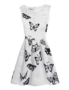 billige Pigekjoler-Pigens Kjole Fødselsdag I-byen-tøj Blomstret Jacquard Vævning Sommerfugl, Bomuld Polyester Uden ærmer Sødt Afslappet Prinsesse Hvid