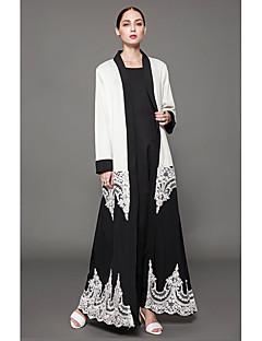 Χαμηλού Κόστους Αραβική ενδυμασία-Γυναικεία Μεγάλα Μεγέθη Καφτάνι Φόρεμα - Μονόχρωμο Μακρύ Ασπρόμαυρο