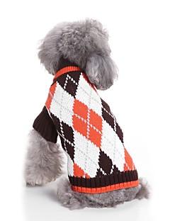 billiga Hundkläder-Katt Hund Tröjor Hundkläder Pläd/Rutig Kaffe Blå Akrylik Fiber Kostym För husdjur Herr Dam Ledigt/vardag Mode Uppvärmning Nyår