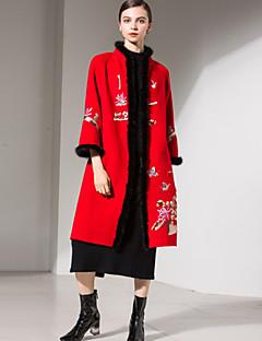 Dames Eenvoudig Verfijnd Street chic Herfst Winter Jas,Uitgaan Casual/Dagelijks Lolita Opstaand Lang Wol Polyester Stijlvol Bontzoom