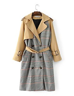 Women's Casual/Daily Street chic Fall Winter Trench Coat,Color Block Notch Lapel Long Sleeve Long Cotton Polyester Others
