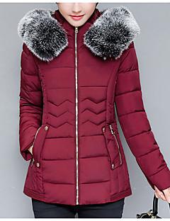 Damen Gefüttert Mantel Anspruchsvoll Lässig/Alltäglich Solide-Baumwolle Langarm