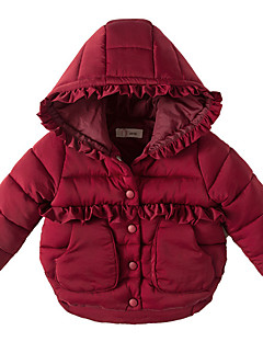 Girls' Solid Down & Cotton Padded Red