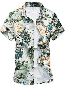 Bomull Polyester Medium Kortermet,Firkantet hals Skjorte Blomstret Sommer Sexy Chinoiserie Plusstørrelser Strand Herre