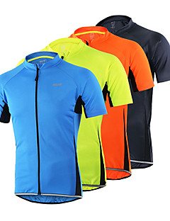 Arsuxeo Cycling Jersey Men's Short Sleeves Bike Jersey Top Quick Dry Anatomic Design Front Zipper Breathable Sweat-wicking Comfortable