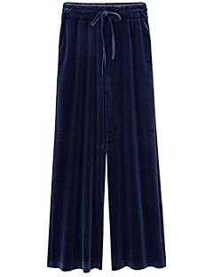 billige Nederdele og bukser til damer-Dame Løstsiddende Bredt Bukseben Bukser Ensfarvet