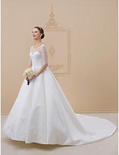 billiga Brudklänningar-Balklänning Illusion Halsband Katedralsläp Satäng Bröllopsklänningar tillverkade med Draperad av LAN TING BRIDE® / Öppen Rygg