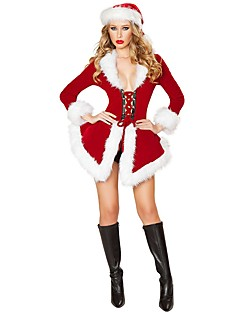 산타 클로스 의상 여성 크리스마스 페스티발/홀리데이 할로윈 의상 레드 솔리드 휴가