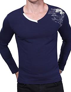 Bomull Spandex Medium Langermet,V-hals T-skjorte Bokstaver Alle årstider Sexy Fritid/hverdag Plusstørrelser Herre