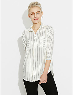 Women's Going out Simple Shirt,Striped Shirt Collar Cotton