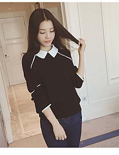 tanie Swetry damskie-Damskie Kołnierzyk koszuli Pulower Jendolity kolor Długi rękaw