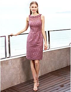 cheap Purple Passion-Sheath / Column Jewel Neck Short / Mini Lace Bridesmaid Dress with Appliques Sash / Ribbon Pleats by LAN TING BRIDE®