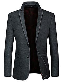Erkek Polyester Uzun Kollu Sonbahar Kış Solid Vintage Günlük/Sade Çalışma Normal-Erkek Blazer