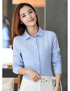 baratos Blusas Femininas-Mulheres Camisa Social - Trabalho Sólido Algodão Colarinho de Camisa
