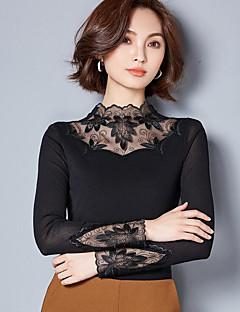 baratos -Feminino Blusa Casual Moda de Rua Outono,Sólido Poliéster Colarinho Chinês Manga Comprida Média