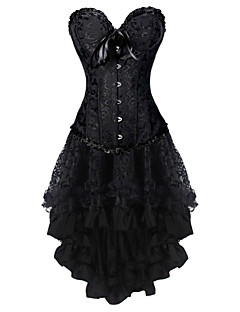 Women's Corset Dresses Floral-Medium Black