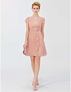 cheap Mother of the Bride Dresses-A-Line Illusion Neckline Short / Mini Chiffon Lace Mother of the Bride Dress with Flower(s) Side Draping by LAN TING BRIDE®