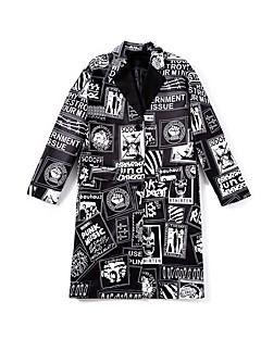 Damen Druck Einfach Lässig/Alltäglich Trench Coat,V-Ausschnitt Winter Herbst Langärmelige Standard Baumwolle überdimensional