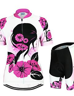 billige Sykkelklær-Arsuxeo Dame Kortermet Sykkeljersey med shorts Blomster / botanikk Sykkel Klessett, Fort Tørring, Anatomisk design, Pustende