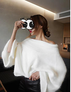 Women's Daily Casual Regular Pullover,Solid Off Shoulder Long Sleeves Cotton Medium Micro-elastic