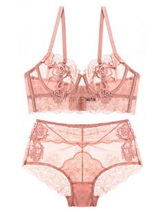Χαμηλού Κόστους The Pink Collection-Γυναικεία Σετ Εσώρουχα Δαντελωτό Εσώρουχο Πυτζάμες - Δίχτυ, Μονόχρωμο