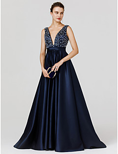A-Line Princess V-neck Sweep / Brush Train Satin Formal Evening Dress with Beading Sash / Ribbon by TS Couture®