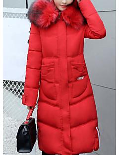Damen Daunenjacke Mantel,Lang Street Schick Lässig/Alltäglich Ausgehen Solide-Baumwolle Polypropylen Langarm