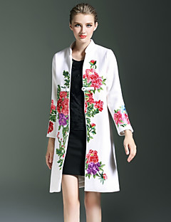 preiswerte Überbekleidung-Damen Vintage Anspruchsvoll Boho Party Festtage Lang Mantel, Ständer Winter Wolle Polyester Bestickt