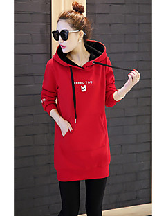 Women's Daily Hoodie Letter Hooded Micro-elastic Polyester Long Sleeve Winter Fall