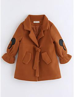 cheap Girls' Clothing-Girls' Cartoon Trench Coat, Cotton Long Sleeves Camel