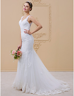 cheap Wedding Dresses-Mermaid / Trumpet V Neck Chapel Train Tulle / All Over Lace / Lace Over Tulle Made-To-Measure Wedding Dresses with Beading / Appliques by