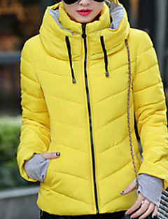 Women's Short Padded Coat,Simple Vintage Cute Going out Casual/Daily Solid-Cotton Polyester Cotton Polypropylene Long Sleeves