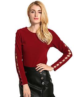 Feminino Camiseta Feriado Casual Vintage Moda de Rua Primavera/Outono Primavera/Outono/Inverno/Verão,Sólido Oco Vintage Ecológico