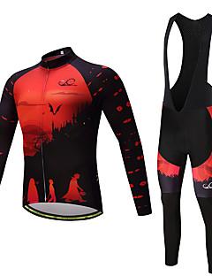 billige Sett med sykkeltrøyer og shorts/bukser-Herre Langermet Sykkeljersey - Svart Sykkel Jersey, 3D Pute, Fort Tørring Fleece Lycra