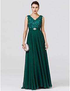 A-Şekilli Prenses V-Yaka Yere Kadar Şifon Boncuklama Aplik Kurdeleler ile Resmi Akşam Elbise tarafından TS Couture®