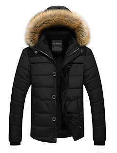 Men's Regular Padded Coat,Casual Daily Going out Solid-Polyester Long Sleeves